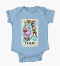 Retro naive cubist Italian beaches, mermaid travel ad Kids Clothes