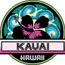 KAUAI Hawaii Hibiscus Flower Wave Travel Vacation Decal Pink Green by MyHandmadeSigns