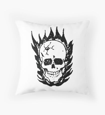Cracked and Blazing Skull Throw Pillow