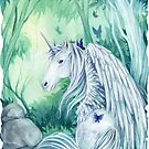 Emerald Green Forest Unicorn by Meredith Dillman