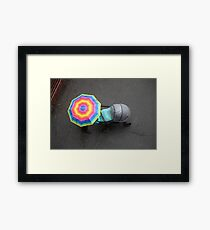 Baby strollers and umbrella Framed Print