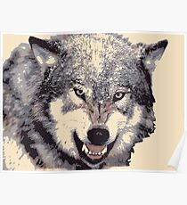 Wolf head in 5 colors Poster