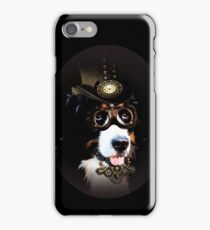 5.Cheerful Steampunk Bernese Mountain Dog with Hat and Goggles iPhone Case/Skin
