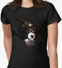 5.Cheerful Steampunk Bernese Mountain Dog with Hat and Goggles T-Shirt