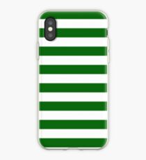 Green and White Hoops Banded Design iPhone Case