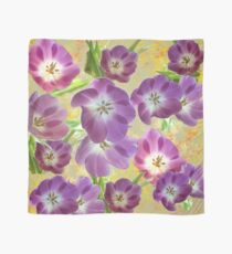 Vintage Purple Flowers on Yellow  Scarf