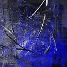 In The Dead of Night - Textured Abstract in blue, black and white by Printpix