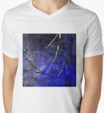 In The Dead of Night - Textured Abstract in blue, black and white V-Neck T-Shirt