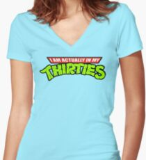 Teenage Mutant Ninja Thirties Women's Fitted V-Neck T-Shirt