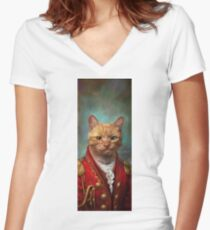 Court General Wise Cat  Women's Fitted V-Neck T-Shirt