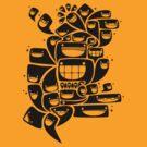 Happy Squiggles - 1-Bit Oddity - Black Version by knitetgantt