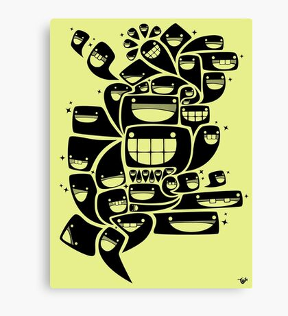 Happy Squiggles - 1-Bit Oddity - Black Version Canvas Print