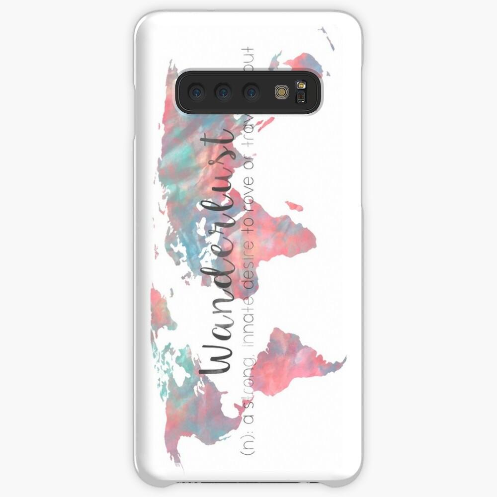 Fernweh Definition Teal und Pink Aquarell Karte Hülle & Klebefolie für Samsung Galaxy