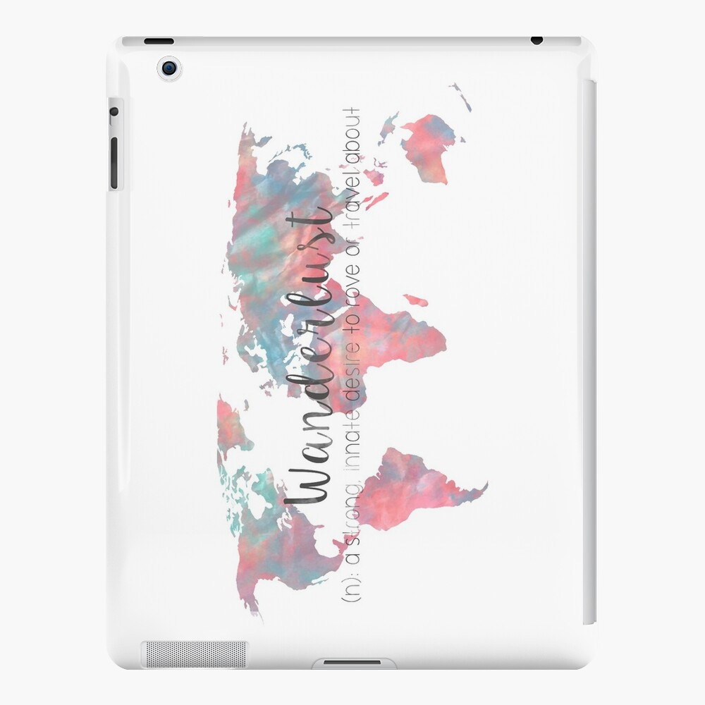 Fernweh Definition Teal und Pink Aquarell Karte iPad-Hüllen & Klebefolien