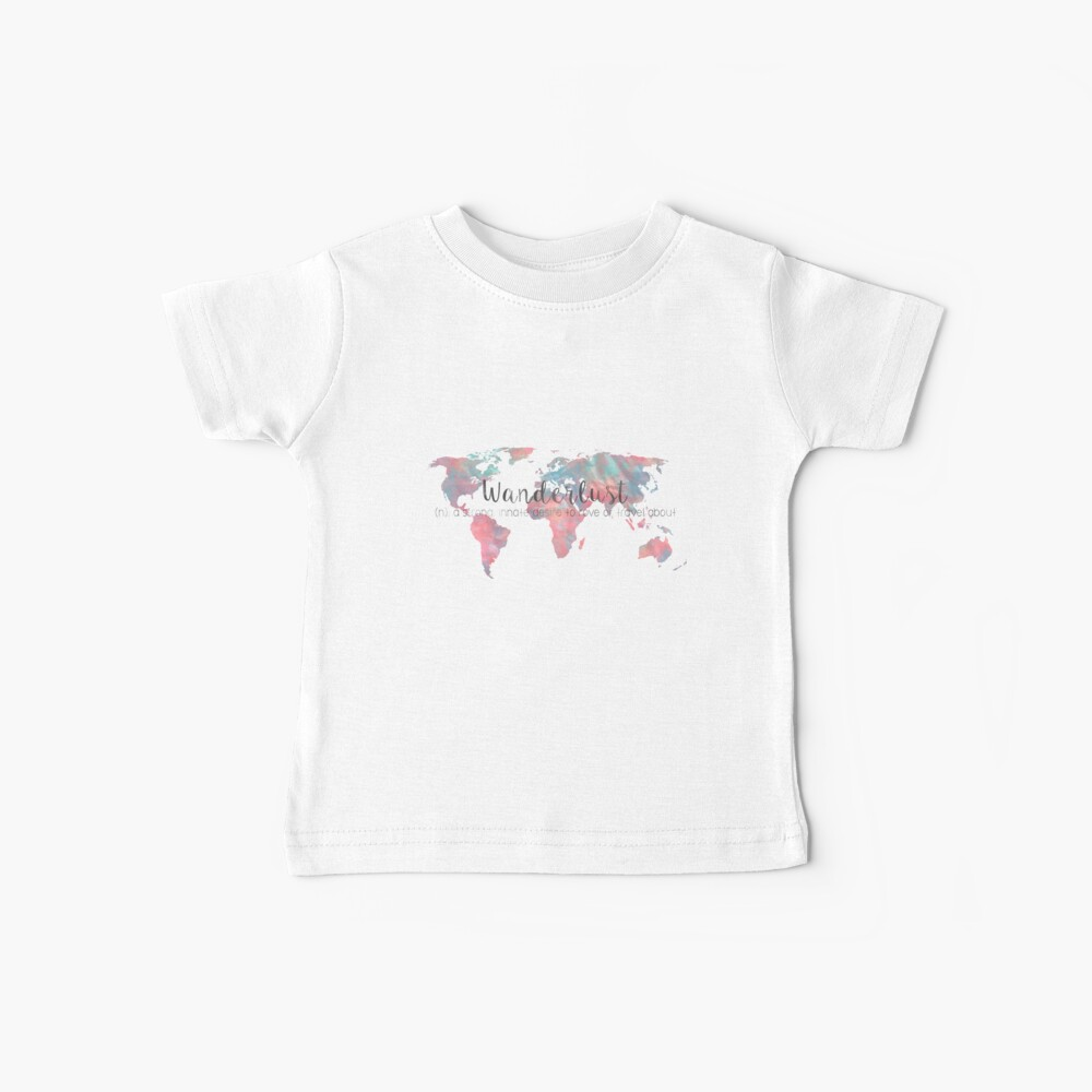 Fernweh Definition Teal und Pink Aquarell Karte Baby T-Shirt