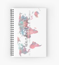 Wanderlust Definition Teal and Pink watercolor map Spiral Notebook