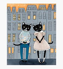 Cats First Date Photographic Print
