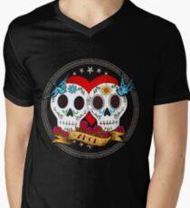 Liebesschädel T-Shirt mit V-Ausschnitt für Männer