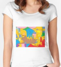Full-color abstract scribble background Women's Fitted Scoop T-Shirt