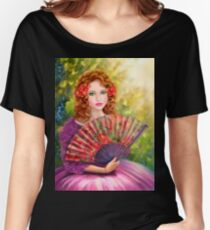 Girl beautiful with a fan against a grape garden. Women's Relaxed Fit T-Shirt