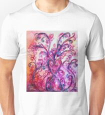 PINK HEART WITH FUCHSIA PURPLE WHIMSICAL FLOURISHES  Unisex T-Shirt
