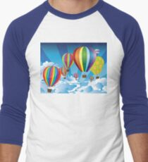 Air Balloons in the Sky Men's Baseball ¾ T-Shirt