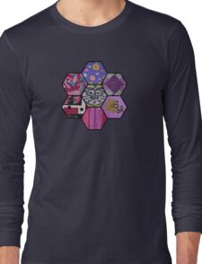 Patchwork in Pinks and Purples Long Sleeve T-Shirt