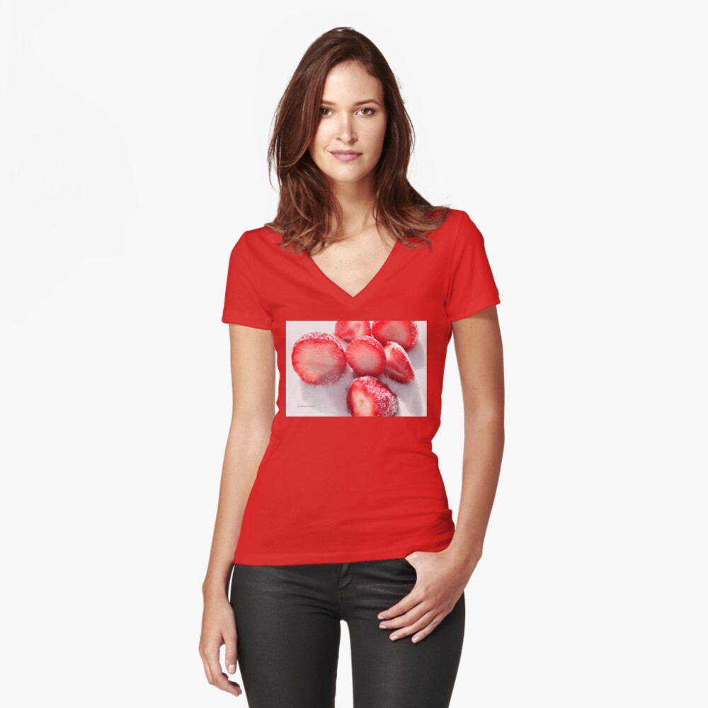 Strawberrylicious Women's Fitted V-Neck T-Shirt Front
