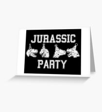 Jurassic party raptors Greeting Card