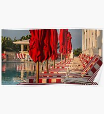 Red Stripes at the Pool Poster