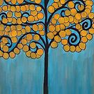 Happy Tree In Blue and Gold by Lee Owenby