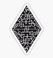 diamond-2 triangles form microchip technology cool design pattern black Sticker