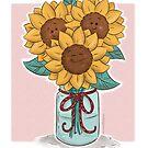 Happy Sunflowers in a Mason Jar by Krista Heij-Barber
