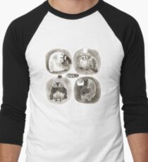 Four Pastel Owls in Funny Hats Men's Baseball ¾ T-Shirt