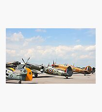 Fighters aeroplanes ME-109 German, Supermarine Spitfire and Hawker Hurricane England, in line ready to flight in formation.  Photographic Print