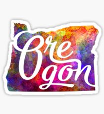 Oregon US State in watercolor text cut out Sticker