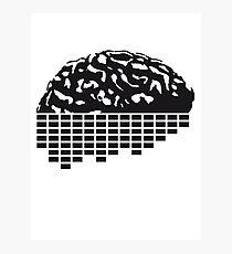 music party dj club cyborg brain machine computer science fiction microchip intelligence brain design cool robot black Photographic Print