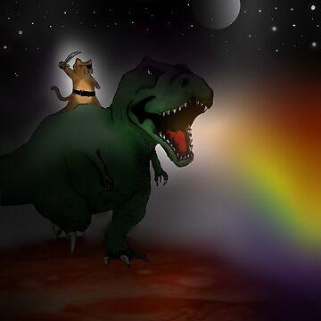 pirate cat riding dinosaur in space by Nightinbird