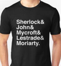 Sherlock & John & Mycroft & Lestrade & Moriarty. (Sherlock) (Inverse) T-Shirt