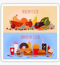 Healthy Food and Unhealthy Fast Food. Fruits and Vegetables or Fast Food and Sweets Sticker
