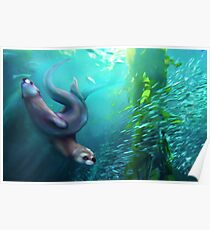 Otters in the Kelp Forest Poster