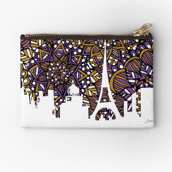 Paris Skyline Silhouette Zentangle Zipper Pouch
