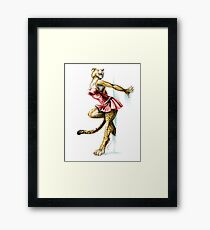Anklet - Anthro Cheetah Girl Pin Up Framed Print