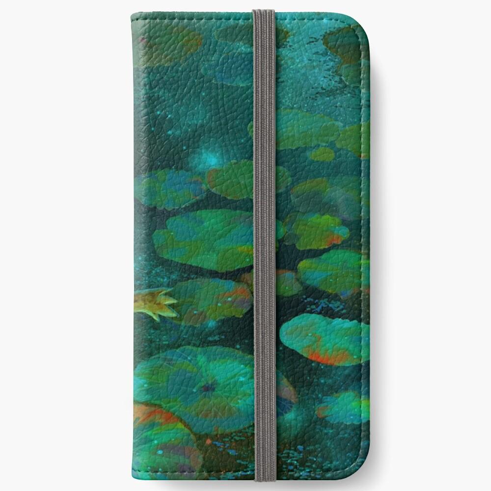 La niña en el estanque con la rana Fundas tarjetero para iPhone