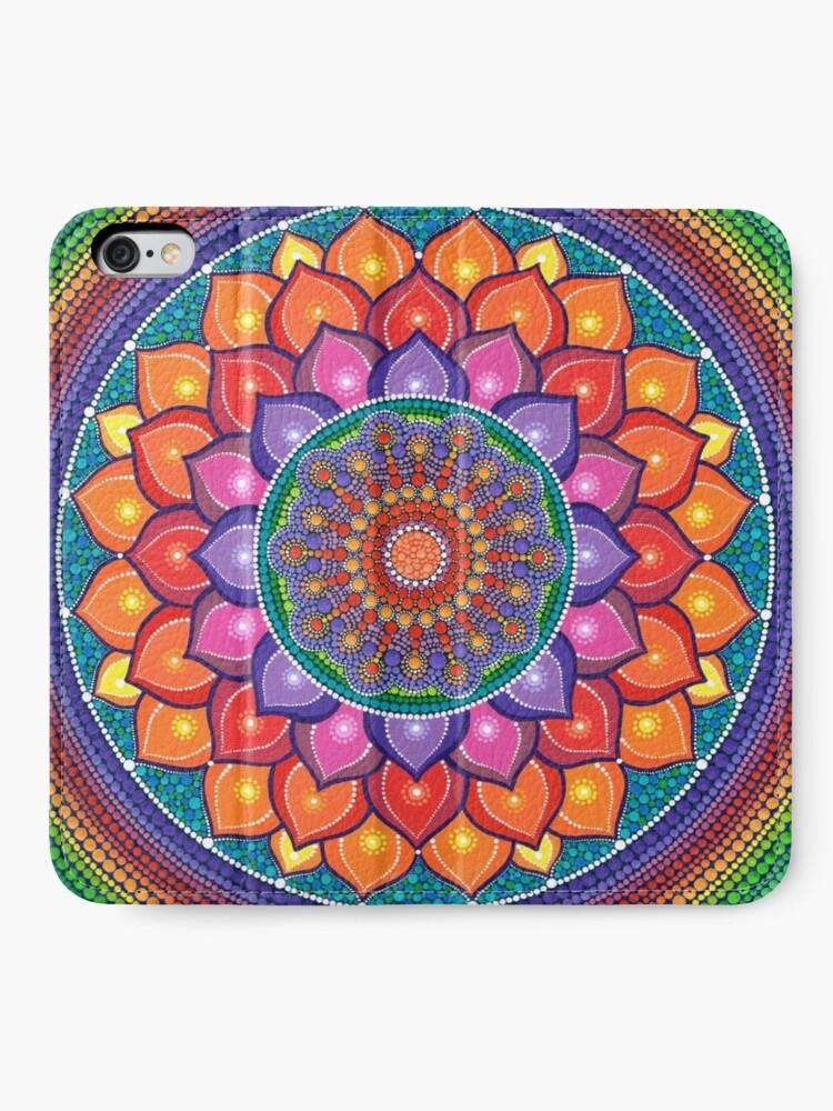 Alternate view of Lotus Rainbow Mandala iPhone Wallet