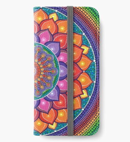 Lotus Rainbow Mandala Étui Portefeuille iPhone