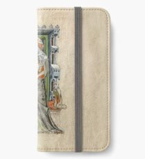 Medieval Miniature - Saint Hedwig of Silesia with Duke Ludwig of Legnica and Brieg and Duchess Agnés (1353 AD) iPhone Wallet/Case/Skin