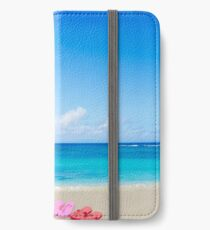 Color flip flops and drawing sun on sandy beach iPhone Wallet/Case/Skin