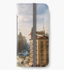 Flat Iron in New York City, ca 1903 colorized iPhone Wallet/Case/Skin