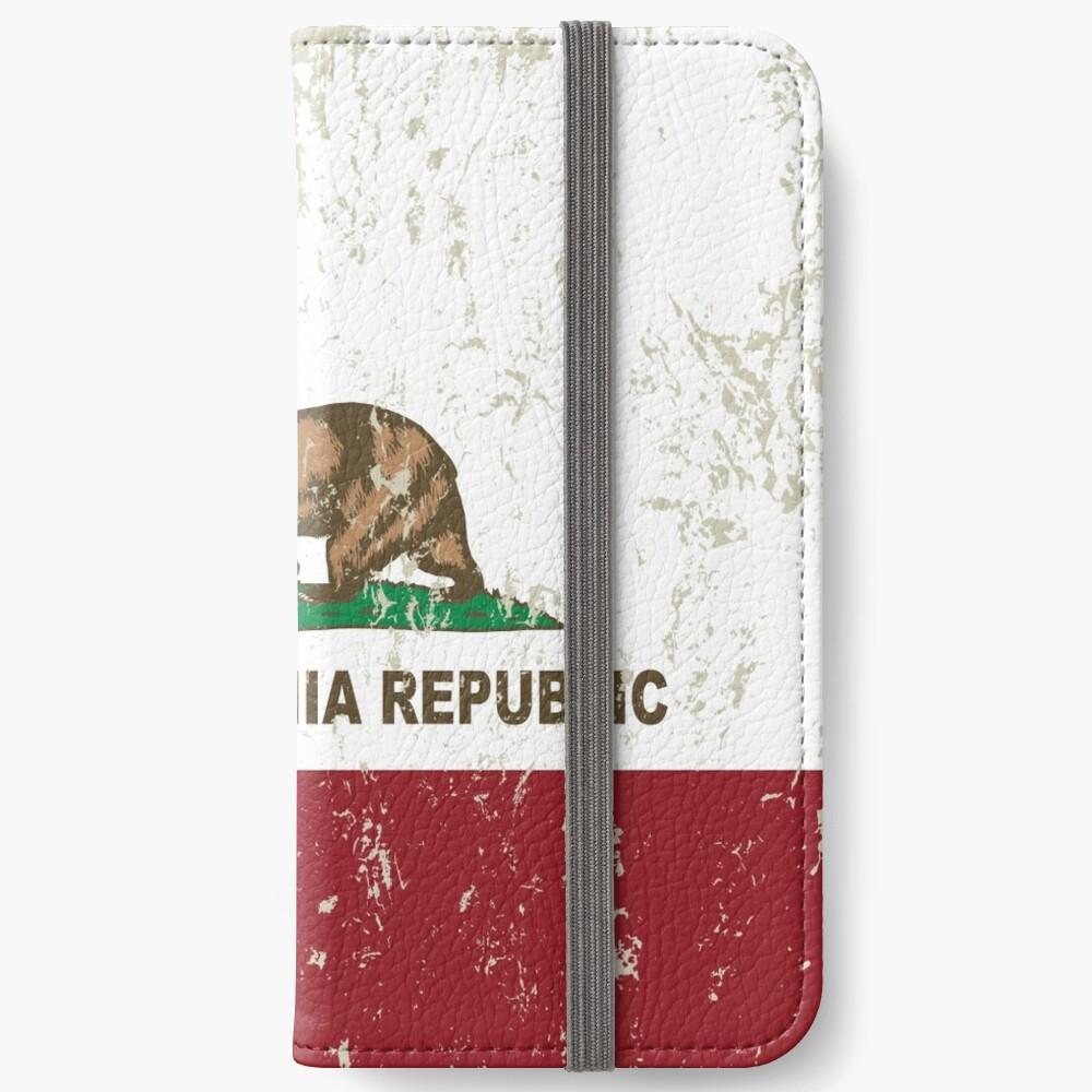 New California Republik Flagge Distressed iPhone Flip-Case